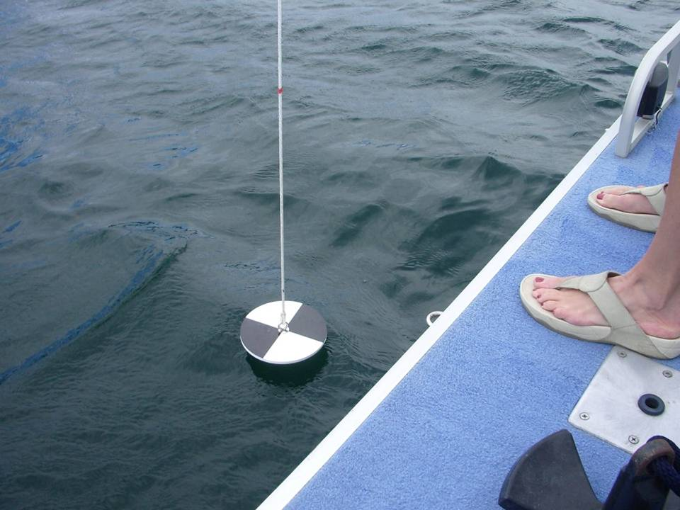 Figure 2. A Sechhi disk that is about to be lowered into the water to measure transparency.